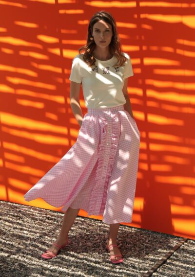 ANNAMARIA PALETTI - GENNIFER - Long skirt with front buttoning and rouges - 001