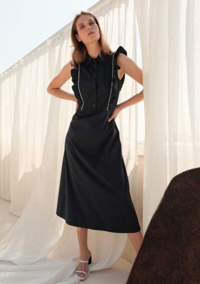 ANNAMARIA PALETTI - GENZIANA - Long dress with shirt collar and curl that starts from the front of the dress and ends in the back - 001