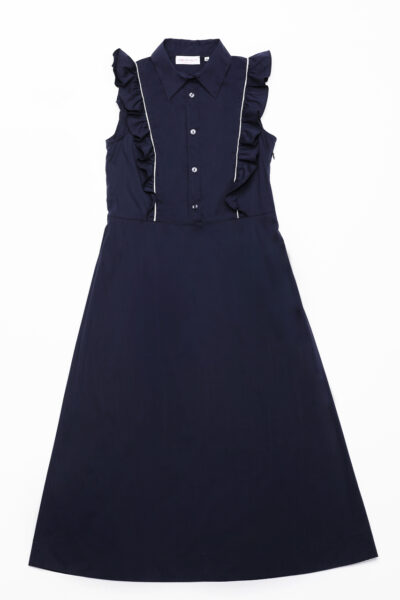 ANNAMARIA PALETTI - GENZIANA - Long dress with shirt collar and curl that starts from the front of the dress and ends in the back - 002