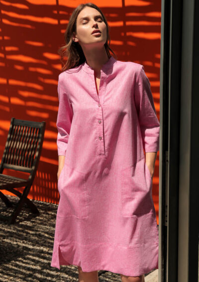 ANNAMARIA PALETTI - GIACOMA - Dress with 3/4 sleeves and two large pockets - 001