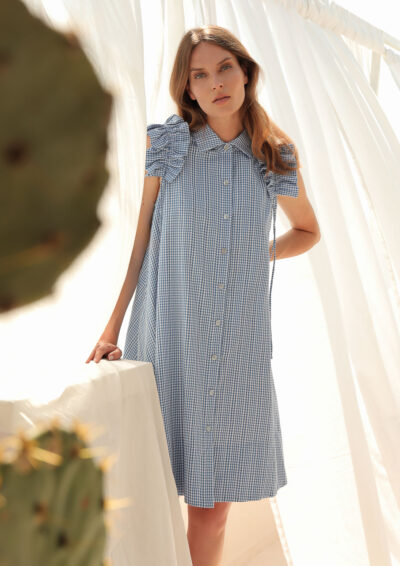 ANNAMARIA PALETTI - GIOIA - Dress with buttoning and shirt collar with gathered sleeves - 001