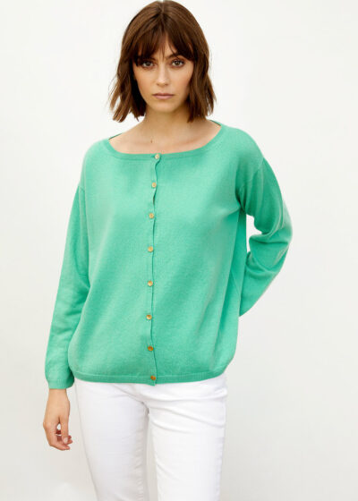ALYKI - 1247_FRENCIS CARD - Classic cardigan with boat neck WITH GOLD BOTTONS - 001