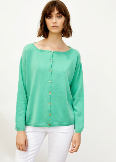 ALYKI - 1247_FRENCIS CARD - Classic cardigan with boat neck WITH GOLD BOTTONS - 002