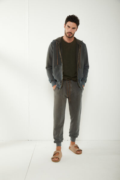 KANGRA MAN - S2K44011102 - Marble-Effect Hoodie With Zip And Pockets - 001