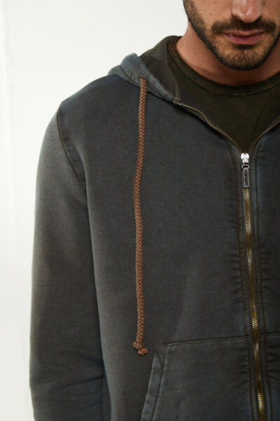 KANGRA MAN - S2K44011102 - Marble-Effect Hoodie With Zip And Pockets - 002