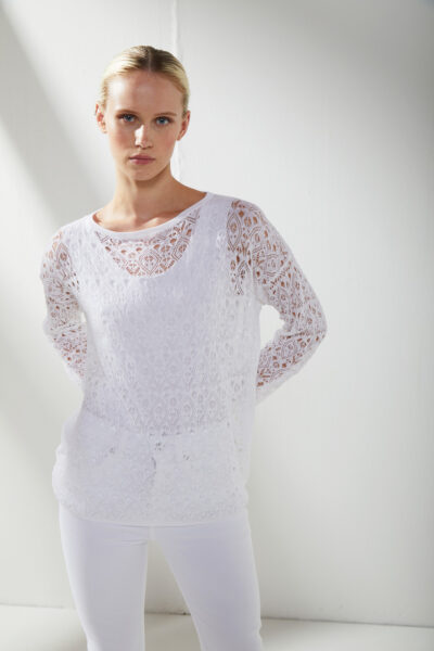 KANGRA MAN - S2A45151360 - Lace-Effect Box Boat -Neck And Tank Top - 001
