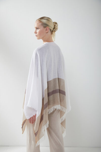 KANGRA WOMAN - S2A499990 - Poncho With Coloured Band - 002