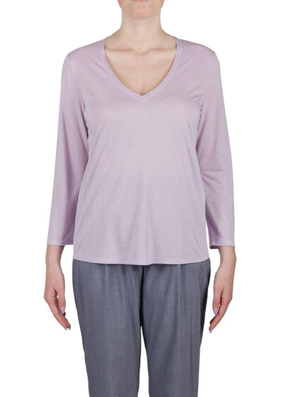 PUROTATTO - 1173 - V-neck t-shirt with 3/4 sleeves - 001
