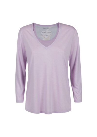 PUROTATTO - 1173 - V-neck t-shirt with 3/4 sleeves - 002