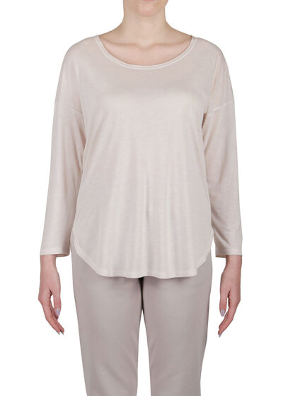PUROTATTO - 1255 - Oversized t-shirt with scoop neck and 3/4 sleeves - 001
