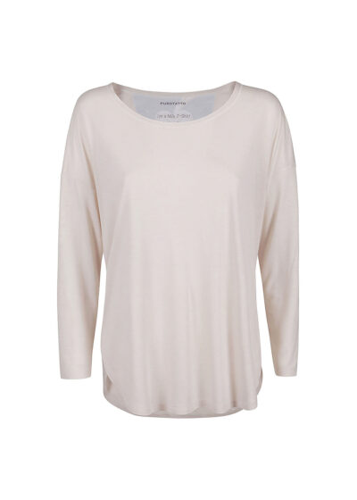 PUROTATTO - 1255 - Oversized t-shirt with scoop neck and 3/4 sleeves - 002