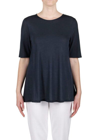 PUROTATTO - 1256 - A-line t-shirt with round neck and elbow-length sleeves - 001
