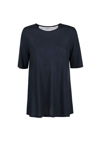 PUROTATTO - 1256 - A-line t-shirt with round neck and elbow-length sleeves - 002