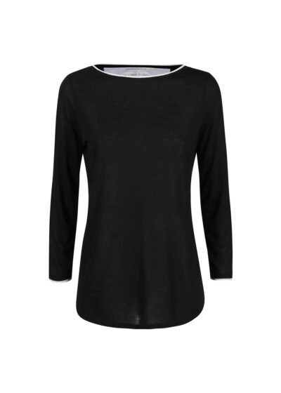 collar and cuffs in knitted cotton and shiny lurex - 001