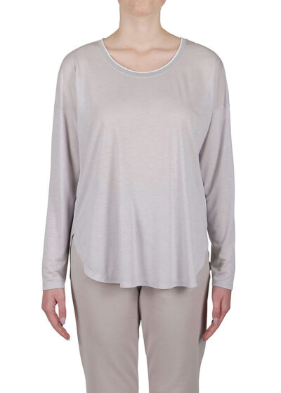 PUROTATTO - 1260 - Oversized t-shirt with scoop neck and long sleeves