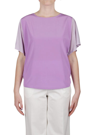 PUROTATTO - 1261 - Flare-sleeved t-shirt with front body in silk crepe de chine - 001