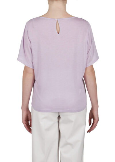 PUROTATTO - 1261 - Flare-sleeved t-shirt with front body in silk crepe de chine - 003