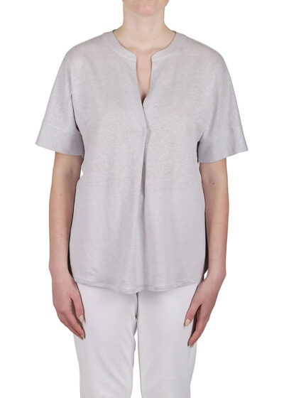 PUROTATTO - 1308 - V-neck t-shirt with center back box pleat - 001