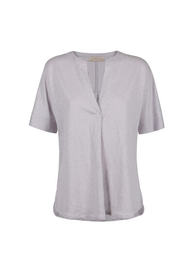 PUROTATTO - 1308 - V-neck t-shirt with center back box pleat - 002