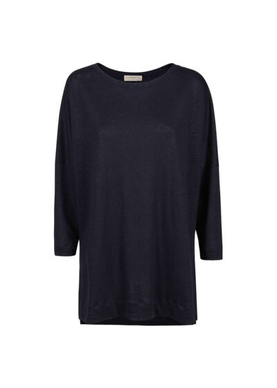 PUROTATTO - 1309 - Oversized t-shirt with boat neck and 3/4 sleeves - 002