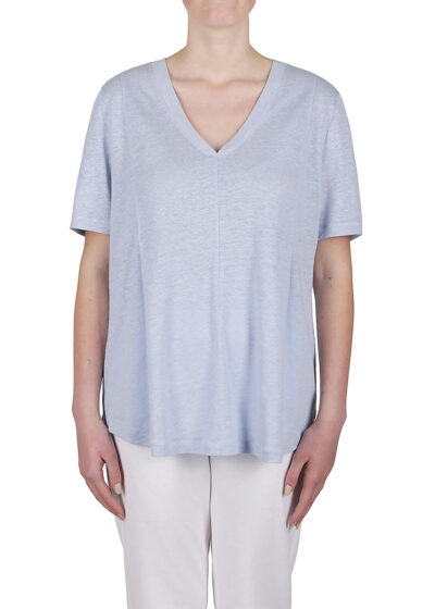 PUROTATTO - 1310 - V-neck short-sleeved t-shirt with pleats at the front creating a flared silhouette - 001