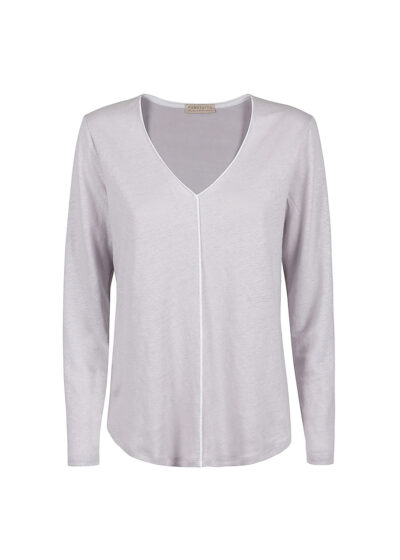 PUROTATTO - 1314 - V-neck long-sleeved t-shirt with piping - 002