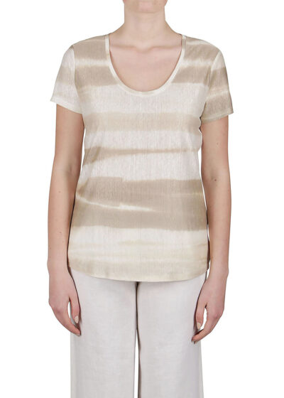 PUROTATTO - 1325 - Scoop neck t-shirt with short sleeves - 001