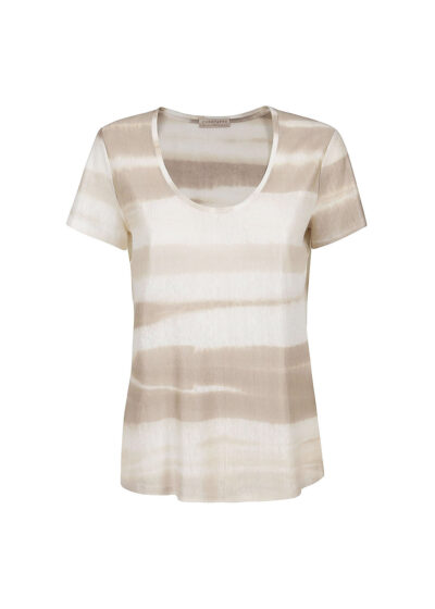 PUROTATTO - 1325 - Scoop neck t-shirt with short sleeves - 002