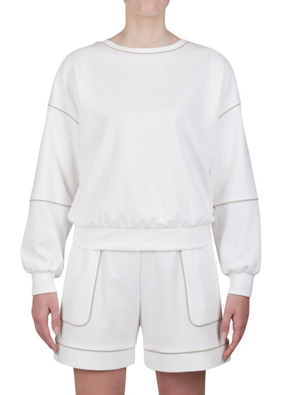 PUROTATTO - 1701 - Sweatshirt with contrasting color piping details