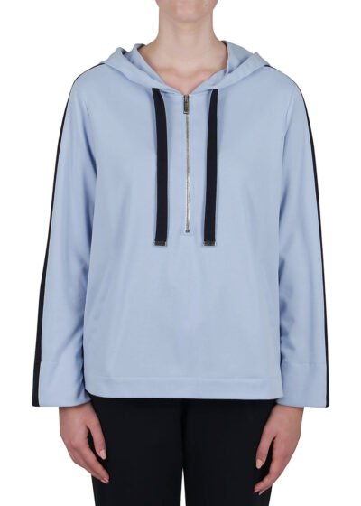 PUROTATTO - 1708 - Hooded sweatshirt with welt pockets and contrasting color band in sleeves - 001