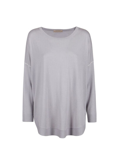 PUROTATTO - 2008 - Round neck long-sleeved sweater with knitted piping - 002