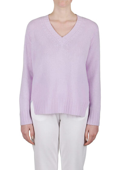 PUROTATTO - 2108 - V-neck chunky sweater with long sleeves