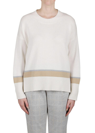 PUROTATTO - 2110 - Round neck sweater with dropped shoulders and long sleeves