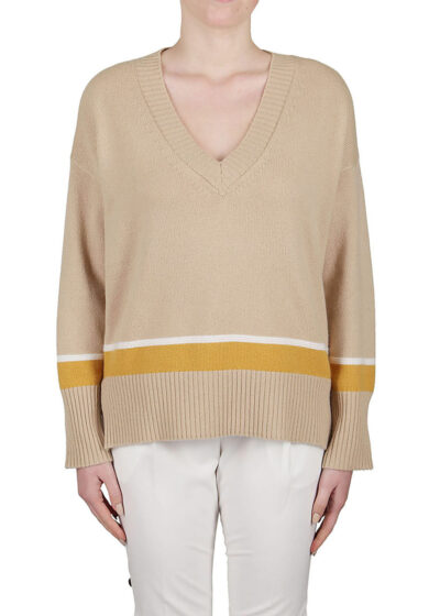 PUROTATTO - 2111 - V-neck sweater with dropped shoulders and long sleeves