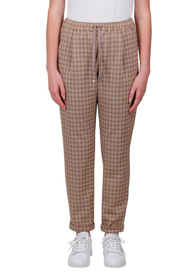 PUROTATTO - 3005 - Trousers with elasticated waistbelt and pockets - 001