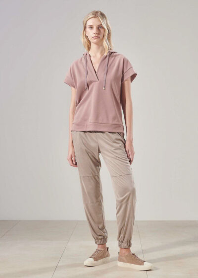 PUROTATTO - 3010 - Cigarette trousers with elasticated waistband and cuffs - 004