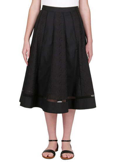 PUROTATTO - 3016 - Skirt with popeline and Sangallo panels - 001