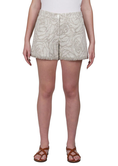 PUROTATTO - 3030 - Jacquard shorts with fringes decoration - 001