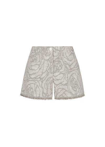 PUROTATTO - 3030 - Jacquard shorts with fringes decoration - 002