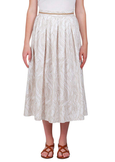 PUROTATTO - 3035 - Pleated skirt in twill cotton with flock print - 001