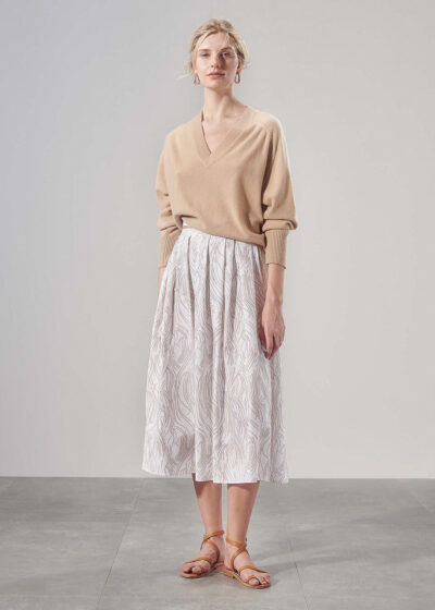 PUROTATTO - 3035 - Pleated skirt in twill cotton with flock print - 004
