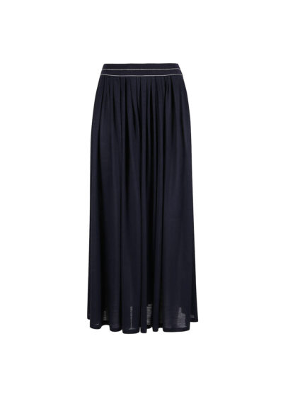 PUROTATTO - 3040 - Skirt with pleats and elastic band at waist - 002