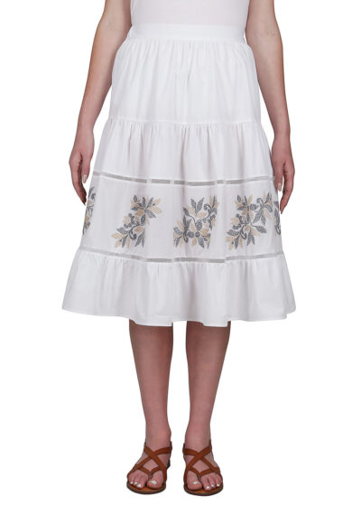 PUROTATTO - 3045 - Skirt in popeline and cotton with fil coupé flowers - 001
