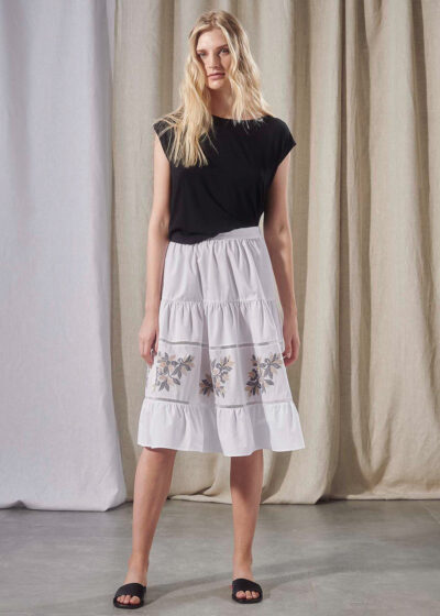 PUROTATTO - 3045 - Skirt in popeline and cotton with fil coupé flowers - 004