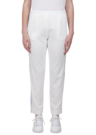 PUROTATTO - 3053 - Trousers with side band in printed viscose - 001
