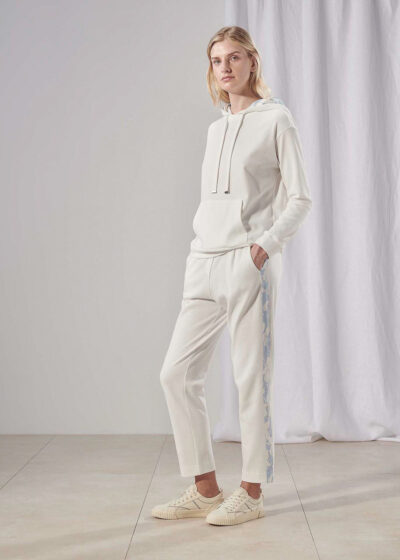 PUROTATTO - 3053 - Trousers with side band in printed viscose - 004