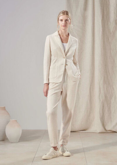 PUROTATTO - 3055 - Trousers with elasticated waistbelt and pockets - 004