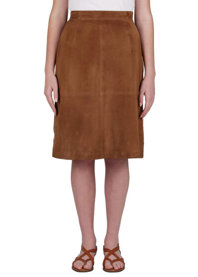 PUROTATTO - 3065 - Leather skirt with side zip - 001