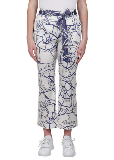 PUROTATTO - 3070 - Boot-cup cropped trousers with pockets and belt - 001