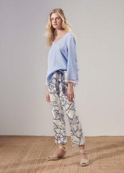 PUROTATTO - 3070 - Boot-cup cropped trousers with pockets and belt - 004